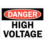"DANGER HIGH VOLTAGE sign, U1-1065-RD_10X7, 10"" x 7"", self adhesive, meets OSHA Standards"