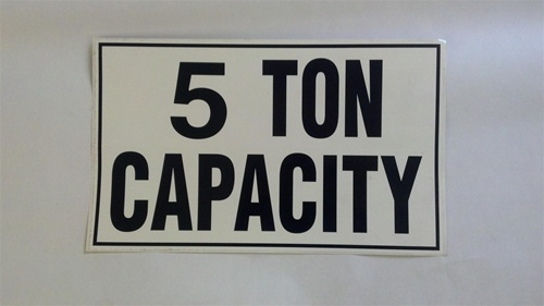 Machinery Capacity Labels Decal