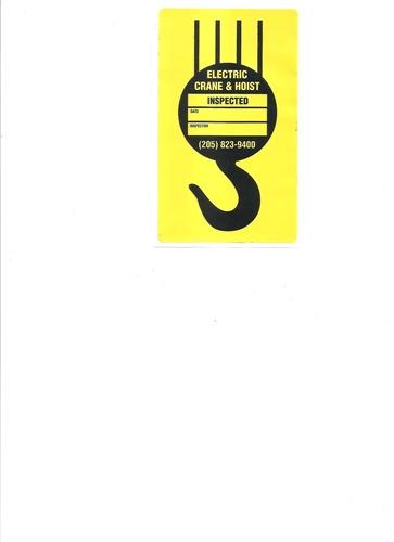 Overhead Crane and Hoist Inspection Stickers