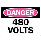 DANGER 480 VOLTS Sign, 14x10 In.,  Self Adhesive, meets OSHA Standards.